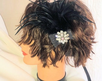 Feather Head Piece with Black Ribbon