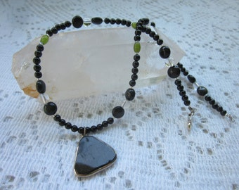 Black Tourmaline Necklace With Obsidian, Quartz and Jade for protection, grounding and good fortune
