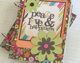 Peace  Love and Happiness Mini Scrapbook Album for your BFF