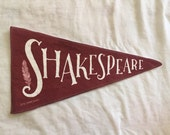 William Shakespeare Author varsity vintage style pennant banner 8 by 15 wall art decor maroon cranberry and cream