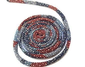 KOFU cord 5mm - made with antique Kimono, silk, 1m, color blue and brick