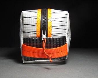 Sailcloth Toiletry Kit / Dopp Kit / Toiletry Bag - White Xply and Orange - Groomsmen Gift - Mens Travel Bag