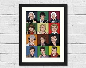 SALE: The Twelve Doctors - DOCTOR WHO - Art Print