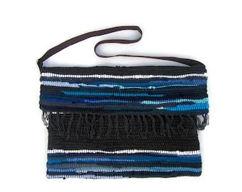 SALE Boho Messenger Bag in Blue Tones. Kilim Bag. Crossbody Bag. Boho Shoulder Bag. Sling Bag. Womens Gift. Envelope Clutch. Hippie Bag