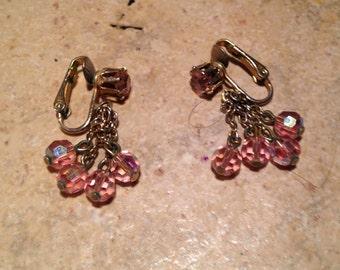 Pink Aurora Borealis Bead Drop Earrings