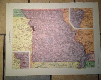 Political Map of Missouri or Montana Antique Illustration