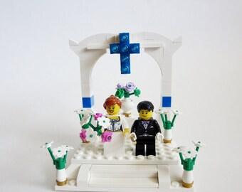 Wedding Cake Topper Lego Minifigures  - Custom Wedding Lego  Bride & Groom Table Decoration - Lego Wedding Couple