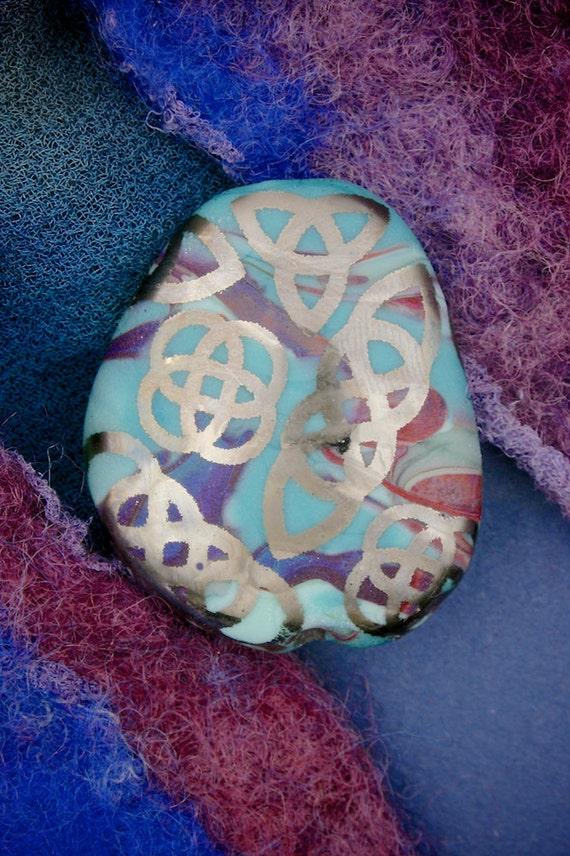"Lampwork Glass Beads SRA ""Celtic Spirit Stone"" Iridescent Lustre Focal Pebble ~ Handmade Sandblasted Glass"