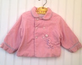 12 month pink corduroy duck with balloon Pom Pom jacket