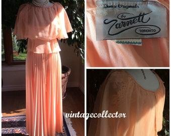 Vintage sheer peach gown with pleated skirt Zarnett