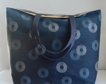 Charcoal Circle Burst BIG Carry All Tote Bag - Ready to Ship