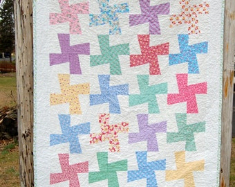 Funky Pinwheels Calico Patchwork Child Toddler Baby Crib Quilt / Blanket - READY TO SHIP
