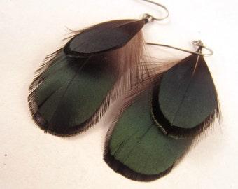 Short Natural Jade Feather earrings
