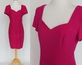 80's Fuscia Pink Sheath Dress / Sweetheart Neckline / Short Sleeves /  Liz Claiborne / Small