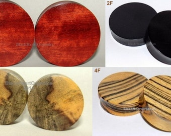 "Custom Wood Plugs, Solid/Flat Examples / Organic Jewelry (2g through 3"" +)  (6mm through 76mm +), Hand Crafted, EXAMPLES of CUSTOM WORK"
