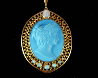 OPAL necklace Victorian cameo Victorian carved Portrait pendant Antique 9ct gold filigree hand carved greek woman genuine stone