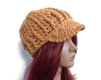 Gold Textured  Brimster - Newsboy Style Hat - Crochet Hat in Wool - Men Women Teen - Warm Winter Hat