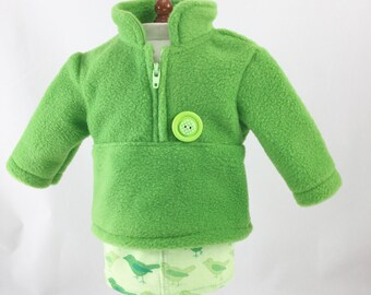 American Made Doll Clothing 18 Inch Dolls 2 Piece Set Green Zip Pullover Corduroy Birdie Print Skirt Set Girls Toy