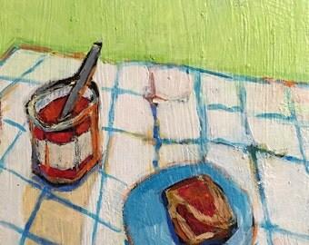 "Jam and Bread - Original Acrylic Oil  Encaustic Still Life Painting - 8""x 10"""