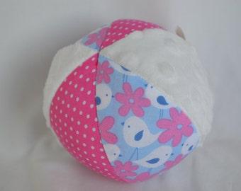"Birds Baby Toy Fabric Jingle Ball 4"" with minky"