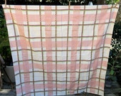 Square Cross Stripe Tablecloth 1950s 60s Vintage Cotton Pink Green Cranberry Linen Home Decor