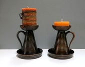 Pair Copper Ribbed Candle Holders with Handles Colonial Early American Style Vintage