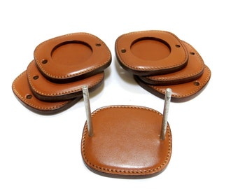 Leather Coaster Set 0f 6 with Caddy Holder Vintage Barware Man Cave Accessory