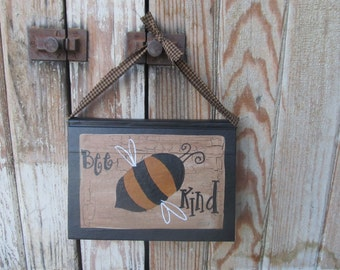 Primitive Bumble Bee Hand Painted Vintage Hanging Book GCC6262