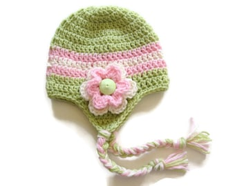 Ready To Ship -  Crochet Fern Green Earflap Hat Baby Girl - Sage Baby Girl Hat - Green Pink White Earflap Baby Hat - Size 3 to 6 Months