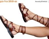15% OFF Brown Gladiator Leather Sandals for Men & Women (Triple Design) - Handmade Unisex Sandals, Jesus Sandals, Genuine Leather Sandals