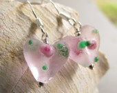 Pink Lampwork Earrings, Beaded Jewelry, Frosted Glass, Pink Roses, Pink Hearts, Gift Giving, Mothers, Gift for Her, Garden, Flowers, SRAJD