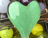 Jade Green Glass Heart, S...
