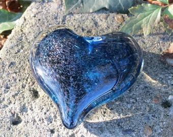 "Dark Blue Sparkle Glass Heart, Solid Heart-Shaped 3"" Paperweight Sculpture, Appreciation Gift, Valentine Heart, By Avalon Glassworks"