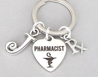 Personalized pharmacist keyring, gift for pharmacist, initial keychain, prescription key ring, gift for him, unisex pharmacist gift, grad
