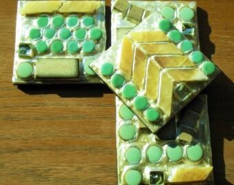 SALE - Chevron Stone and Glass Coasters (Set of 4)