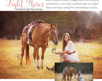 Photoshop Action | Overlays - Warm Rose Light Flares - Photography Editing Made Easy With This One (atn) Action to Install on Your Computer.