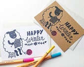 happy winter greeting card. sheep is knitting hand printed note card. quirky holiday card. farm animal illustration. choose option
