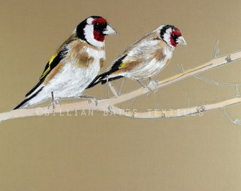 Goldfinches - Embroidered Textile Art Canvas