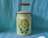 HOLD FOR AMY Vintage Yellow Enamel Milk Can/Vintage c. 1970s/Soviet Milk Bucket With Daisies/Lunch Pail, Cookie Jar