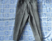 Adorable Pair of Vintage Child's Gray Wool Ski Pants