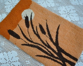 Cattails in The Sunset/Wool Textile Wall Hanging/Vintage 1970s/Hooked Rug Panel/Nova Scotia Folk Art/Beach House Decor
