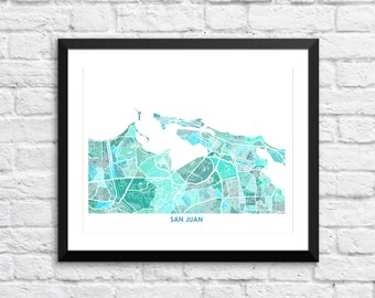 San Juan Map Print.  Choose the Colors and Size.  Puerto Rico Wall Art.  PR Wedding Gift.