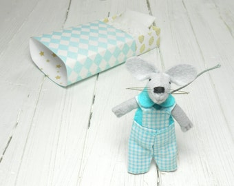 Miniature mouse felt animal felt mouse white gold Kawaii plush Waldorf doll hand made doll mouse in a matchbox light blue stuffed animal