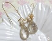 Angel Cluster in Gold - Ethereal, Elegant, Bridal Earrings, Wedding Earrings, Gift for June, White Pearl, Faceted Golden Rutilated Quartz