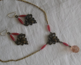 "Vintage necklace and earrings set, 15"" necklae, 2"" earrings"