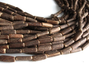 "Wood CocoNut Beads - Eco Friendly Tube Beads 15mm - 30"" strand  (PC224B)"