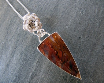 Pendant of Bull Canyon Plume Agate, Cast Sedum, and Sterling Silver