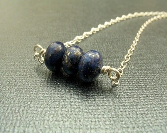 Blue Lapis Lazuli Sterling Silver King Tut Necklace