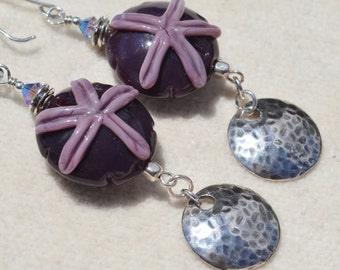 ALL ABOUT the BEACH-Handmade Lampwork and Sterling Silver Earrings