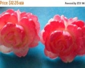 1 DAY SALE Pink White Rose Bud Clip On Earrings